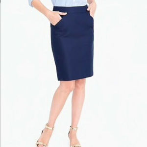 J Crew XS 2 Navy Blue Cotton Pencil Skirt Pockets